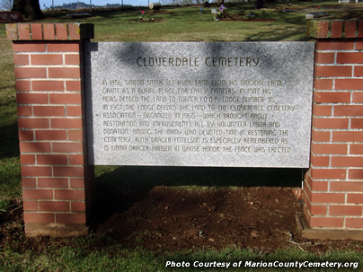 Cloverdale Cemetery Entry Sign